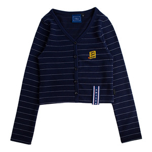 Stripe Knit Cardigan_Navy