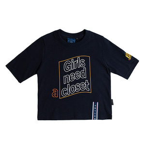 Post Logo Crop T Shirt_Navy