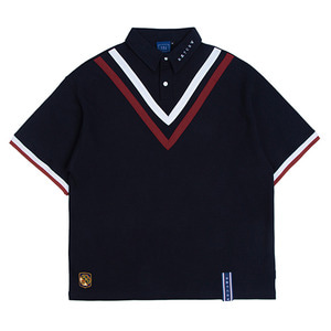 Chest Point Collar T Shirt_Navy