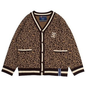Leopard Knit Cardigan_Brown