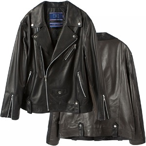 [LAMB SKIN]WIDE LEATHER RIDER JACKET_BLACK
