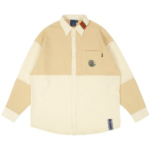 UP AND DOWN BLOCK SHIRT_BEIGE