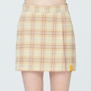 TARTAN CHECK WRAP SKIRT_YELLOW