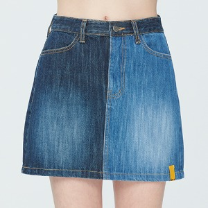 TONE ON TONE POCKET SKIRT_BLUE