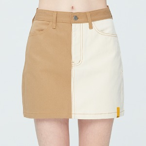 TONE ON TONE POCKET SKIRT_BEIGE