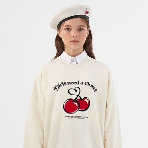 [KIRSH X RMTCRW]GNAC CHERRY SWEAT SHIRT_OATMEAL