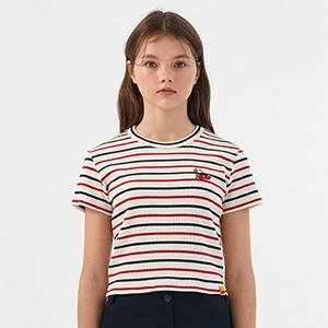 [KIRSH X RMTCRW]GNAC STRIPED CHERRY TEE_OATMEAL