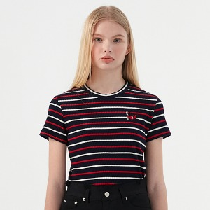 [KIRSH X RMTCRW]GNAC STRIPED CHERRY TEE_NAVY