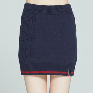CABLE KNIT MIDI SKIRT_NAVY