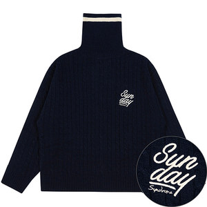 SUNDAY SYNDROME KNITTED TURTLENECK_NAVY