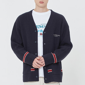 RIBBED KNIT CARDIGAN_NAVY