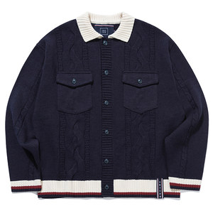 CABLE KNIT JACKET_NAVY