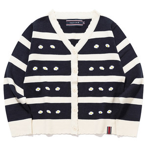 STRIPE FRILL KNIT CARDIGAN_NAVY