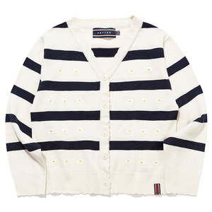 STRIPE FRILL KNIT CARDIGAN_OATMEAL