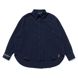 WOMAN BALLOON CUFFS SHIRT_NAVY