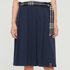 PLEATS LONG SKIRT_NAVY