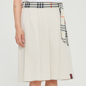 PLEATS LONG SKIRT_OATMEAL