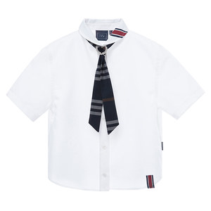 CRAVATE ROUND COLLAR SHIRT_WHITE