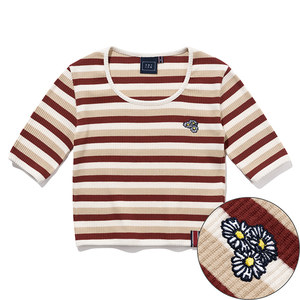 WOMANS STRIPE RIBBED TEE_BURGUNDY