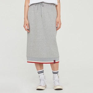 COTTON RIB SKIRT_GREY