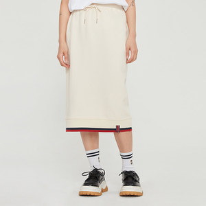 COTTON RIB SKIRT_OATMEAL