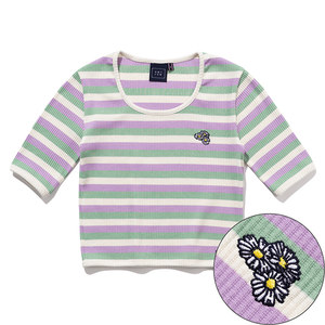 WOMANS STRIPE RIBBED TEE_PURPLE