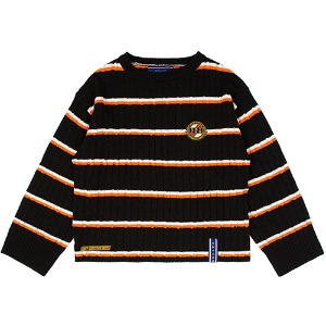 STRIPE CABLE KNIT_BLACK