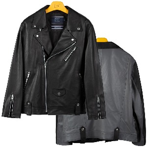 TONE ON TONE LEATHER RIDER JACKET_BLACK