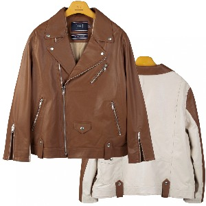 TONE ON TONE LEATHER RIDER JACKET_BROWN